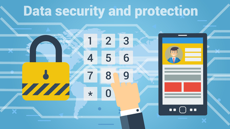 Flat style of man entering password for getting access to data under security protection. Vector web banner Illustration