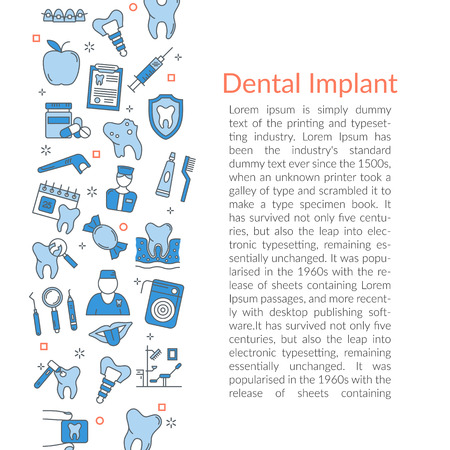 Vector illustration with linear icon - Dental Implant. Text template for web site on white background.