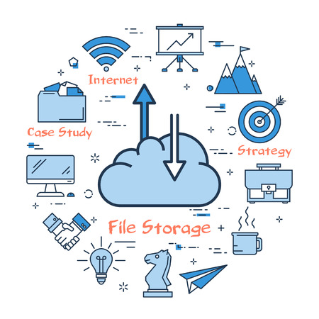 Vector illustration of business concept of file storage. Cloud with arrows on upload and download on white background. Round web banner.