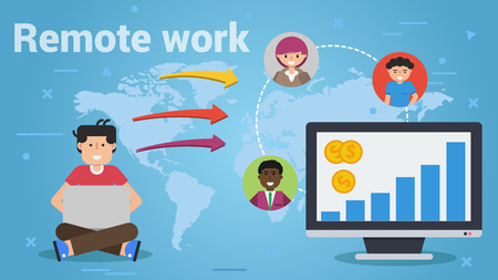 Vector illustration of sitting man with computer and other workers around of world. Big monitor with growth chart on screen and money. Horizontal web banner, business flat concepts of remote work