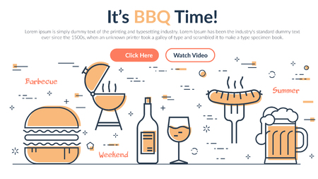 Creative design of webpage about barbecue and summer grill with simple icons on white background Illustration