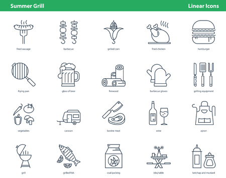 Simple collection of linear black icons for cooking grill food in summertime isolated on white background Illustration