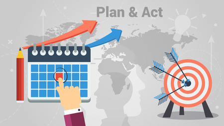 Colorful vector design showing concept of successful person making plans and putting into practice Illustration