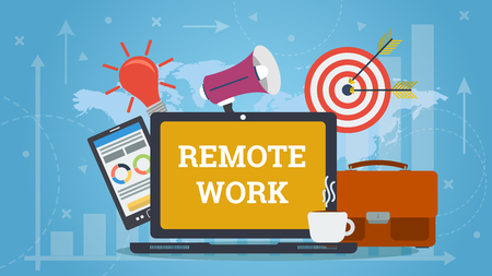 Colorful flat design of laptop with elements of work and words Remote work on blue world map background