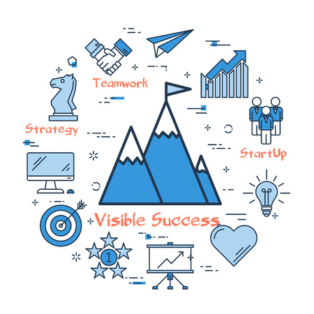 Blue icons showing gaining of success and goals accomplishment in blue color isolated on white background Illustration