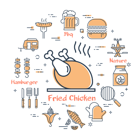 Simple arrangement of linear icons showing fried meat and barbecue items isolated on white background Illustration