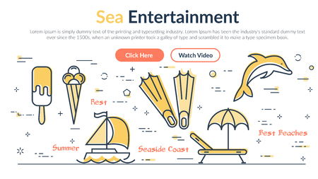 Simple design of webpage with colorful icons for beach and sea entertainment isolated on white background