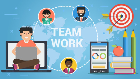 Bright vector illustration of social media and teamwork concept on blue world map background Illustration