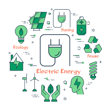 Round set with infographic icons showing idea of recycling and electric energy saving on white background