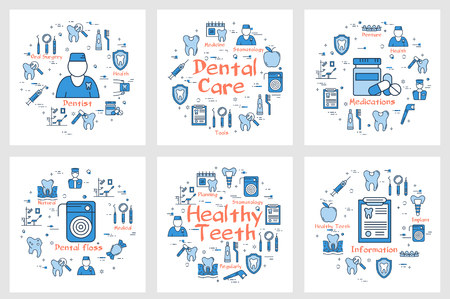 Square banners with round icons in set showing theme of health and dentistry care on white background