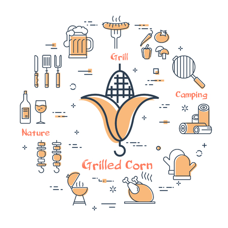 Arrangement of linear icons in circle on white background showing concept of grilling food on barbecue party