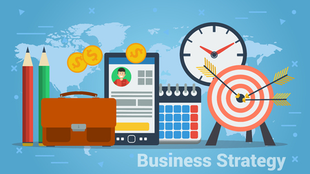 Colorful design of vector showing elements of work for business strategy on blue background