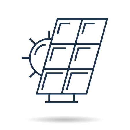 Black linear icon design of solar battery and sun template isolated on white background Illustration