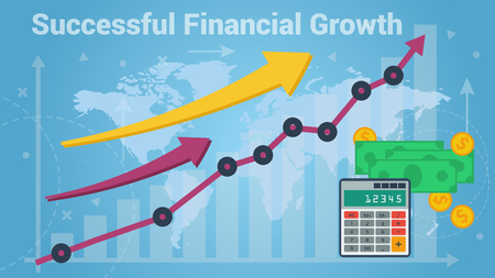 Colorful vector graphic and chart representing fast financial growth on blue world map background Illustration