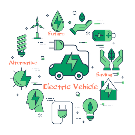 Vector infographic design of simple green icons for using alternative energy and electric vehicle on white background