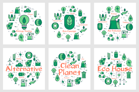 Set of green banners with round arrangements of icons for alternative resources and ecology health concept on white background
