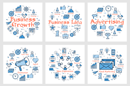 Arrangement of square banners with blue round sets of icons for business and advertising concept in blue color