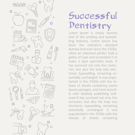 White web design with simple icons in collage and text space with heading Successful dentistry Illustration