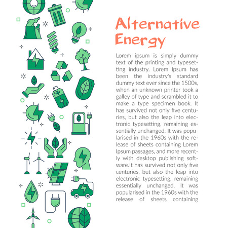 Minimalist design of web article with green icons and text about alternative energy on white background