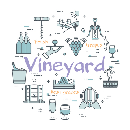 Vector linear blue round concept of wine making. Line icons of viticulture, bunch of grapes and barrels of wine. Web banner with white background