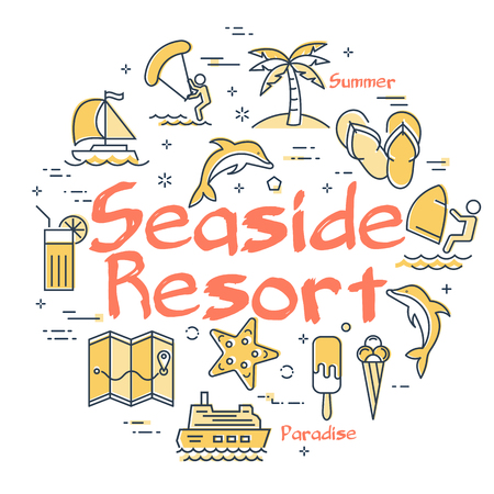 Round set of yellow simple icons showing activities and beach time in summer on seaside resort