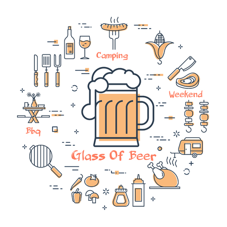 Vector linear yellow round concept of food and drink for camping .Glass of beer in the center and various line icons - bovine barbecue, grill, fried chicken and corn. Modern outline web banner