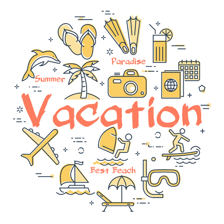 Colorful linear icons of summer vacation and activities composed in circle and isolated on white background