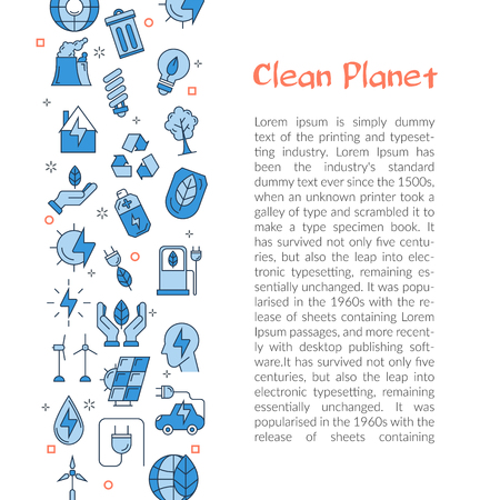 Vector template with text CLEAN PLANET and with linear icons of alternative energy sources. Web banner for ecology,innovations types of energy