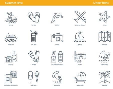 Set of linear black simple icons composed on white background and showing activities and travels in summertime