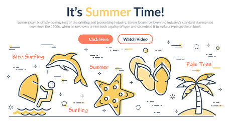 Yellow icons in arrangement on webpage design about summertime holidays and activities on white background
