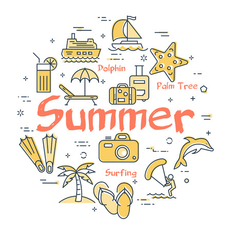 Round set of linear icons of yellow color showing concept of summer activities and traveling isolated on white background