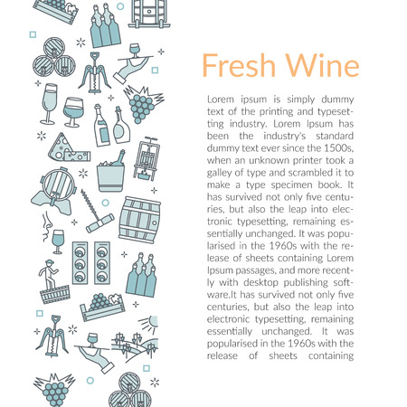 Vector template with text FRESH WINE and with linear icons of winemaking, barrels and bottles with wine bunches of grapes.