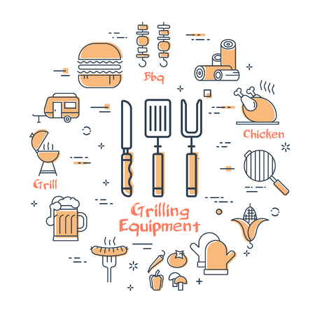 Vector linear yellow round concept of grilling equipment. Various linear icons of knife, fork, skewer, grill, barbecue. Modern web banner on white