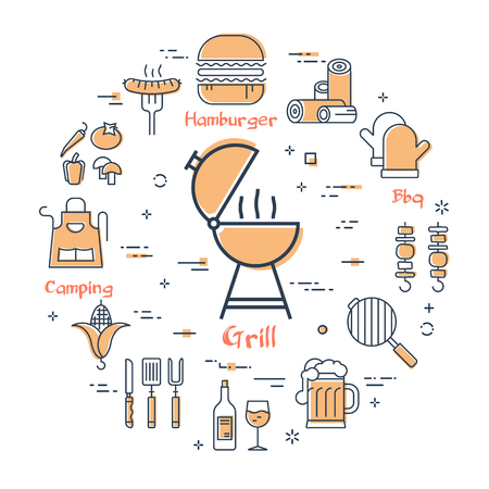 Vector linear yellow round concept of picnic. Grill in the center and various linear icons - bbq, meat, sausage, coal. Modern web banner on white