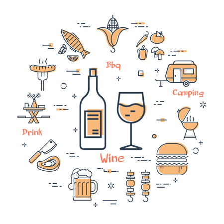 Vector linear yellow round concept of GRILL. Bottle and a glass of wine in the center and various linear icons - fish, camping, bbq, drinks. Modern web banner on white