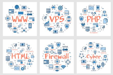 Vector seis banners cuadrados de negocios: WWW, VPS, PHP, HTML, firewall y concepto cibernético. Codificación, lenguajes de programación y conceptos de tecnología de Internet en estilo lineal sobre fondo blanco.
