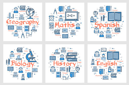 Vector six square banners of school subjects - geography, history, maths, languages and biology. Linear icons of children, notes, globe, books, ruler and computer on white background