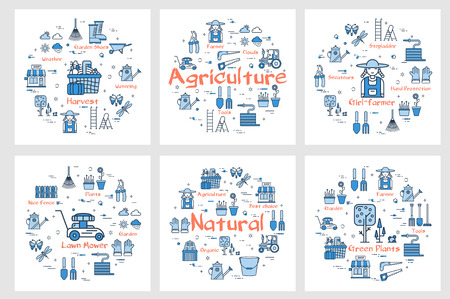 Vector square six banners of icons  showing farming and agriculture concept with tools and instruments in linear style. Natural products, lawn mower, harvest and woman farmer