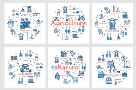Vector square six bannières d'icônes montrant le concept d'agriculture et d'agriculture avec des outils et des instruments dans un style linéaire. Produits naturels, tondeuse à gazon, récolte et agricultrice Vecteurs
