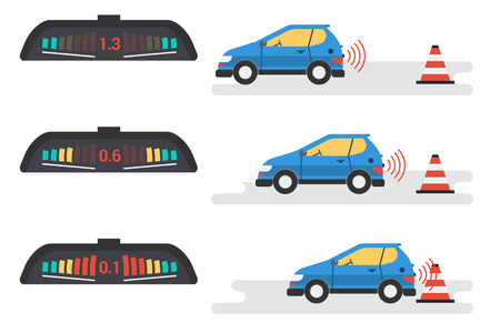 Vector flat infographic of car parktronic system. Three position of vehicle and signal of electronic device. The car goes back to the warning cone. Modern technologies for motorists Illustration