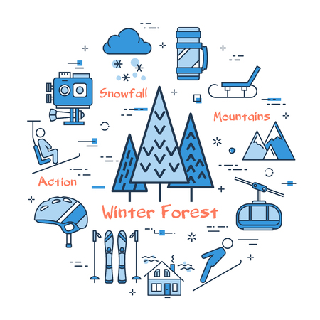 Vector linear blue round concept of Winter forest with tree. Concept of sport activity in mountains. Line icons of lift, camera, snowfall, jumping and skiing