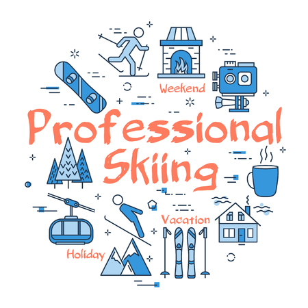 Vector linear blue round concept of professional skiing, sport skis - running man. Line icons of winter activity, gloves, action camera, hat, mountain and forest Illustration