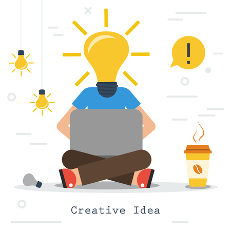 Vector infographic of creative business idea. Man worker sits with computer and coffee - lamp instead of head. Flat concept process of human thinking and finding the best solutions