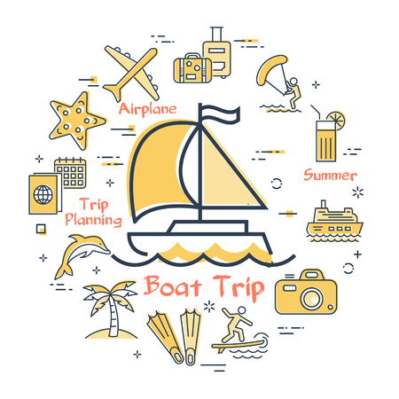 Vector round concept of sea yacht or small boat with sail and yellow summer vacation icons. Trip planning by airplane or other transport and summer activity - windsurfing, kite surfing and diving