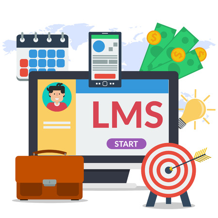 Vector square concept of learning management system - LMS. Man avatar on computer monitor, elements for distance education, smart phone, agenda calendar, money in flat style on map background Illustration
