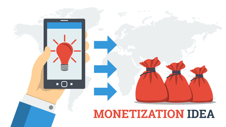 Vector flat concept of monetization idea. Creative lamp on mobile screen and profit as money in bags. New way of monetization, withdrawal of electronic money, coins