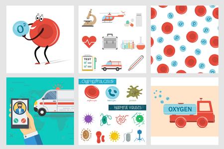 Vector sei striscioni medici quadrati, cellule utili e dannose, set di icone piatte, eritrociti di camion dei cartoni animati trasporta ossigeno, globuli rossi, chiamata di emergenza dell'auto ambulanza e modello senza cuciture