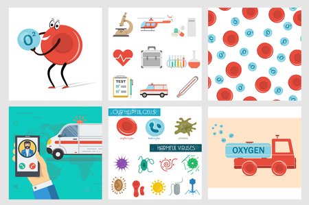 Vector six square medical banners, helpful and harmful cells, set of flat icons, cartoon truck erythrocyte carries oxygen, red blood cell, emergency call of ambulance car and seamless pattern