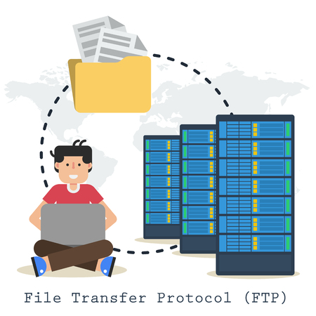 Vector banner internet FTP connection. Happy man administrator, server icon, folder with documents and computer. Illustration in flat style on world map background as concept of file transfer protocol Ilustrace