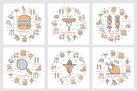 Vector six linear yellow round concept of picnic items, food and equipment. Gamburger, barbecue, fried corn and chicken. Modern line banners for web article and your design on white background